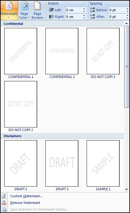 watermark menu